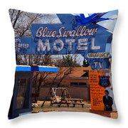 Blue Swallow Motel On Route 66 Throw Pillow