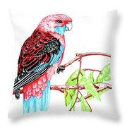 Blue Tail Parrot - Green Day Throw Pillow
