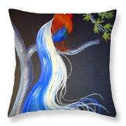 Blue Tail Fantasy Throw Pillow