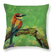 Blue Tailed Bee Eater Throw Pillow