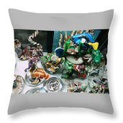 Blue Tang Swimming Above Throw Pillow
