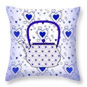 Blue Teapot - Kitchen Throw Pillow