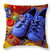 Blue Tennis Shoes Throw Pillow by Garry Gay