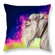 Blue The Goat In Fog Throw Pillow