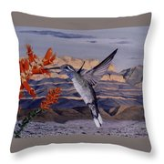 Blue Throated Hummingbird Throw Pillow