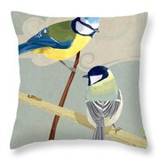 Blue Tit And Great Tit Throw Pillow