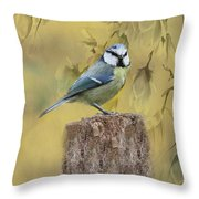 Blue Tit Bird II Throw Pillow