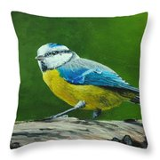 Blue Tit Bird Throw Pillow