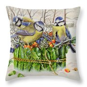Blue Tits In Leaf Nest Throw Pillow