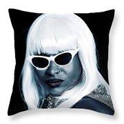 Blue Tone Portrait Throw Pillow