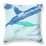 Blue Toned Artistic Feather Abstract Throw Pillow