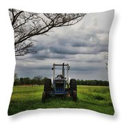 Blue Tractor Green Field Throw Pillow