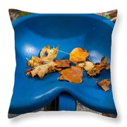 Blue Tractor Seat Throw Pillow