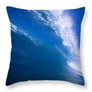 Blue Translucent Wave Throw Pillow