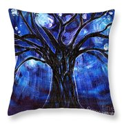 Blue Tree At Night Throw Pillow