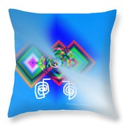 Blue Triple Interconnected Squares Throw Pillow
