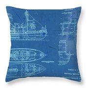 Blue Tugboat Blueprints Throw Pillow