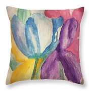 Blue Tulip And Iris Abstract Throw Pillow