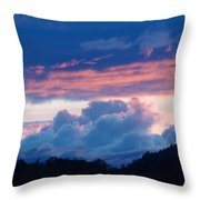 Blue Twilight Clouds Art Prints Mountain Pink Sunset Baslee Troutman Throw Pillow