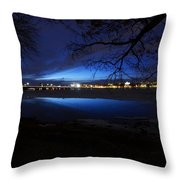 Blue Twilight Over The Charles River Throw Pillow