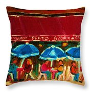 Blue Umbrellas Throw Pillow