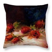 Blue Vase And Red Roses Throw Pillow