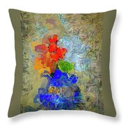 Blue Vase, Red Flowers Throw Pillow
