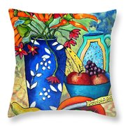 Blue Vase With Orange Flowers Throw Pillow