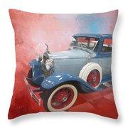 Blue Vintage Car Throw Pillow