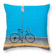 Blue Wall Bicycle Throw Pillow