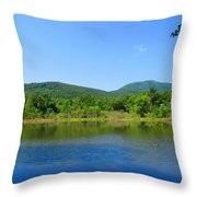 Blue Wall Lake Throw Pillow