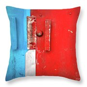 Blue Wall Red Door Throw Pillow