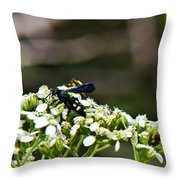 Blue Wasp 2 Throw Pillow