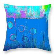 Blue Water And Sky Abstract Throw Pillow