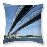 Blue Water Bridge Throw Pillow