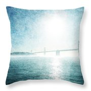 Blue Water Bridge Throw Pillow