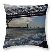 Blue Water Bridge In Winter Throw Pillow