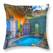 Blue Water Courtyard Throw Pillow