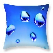 Blue Water Droplets On Glass Throw Pillow