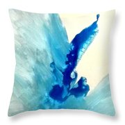 Blue Water Flower Throw Pillow by KR Moehr