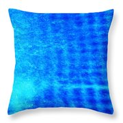Blue Water Grid Abstract Throw Pillow