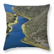 Blue Water In A Channel Throw Pillow