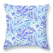 Blue Water Leaves Throw Pillow