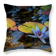 Blue Water Lily Pond Throw Pillow