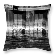 Blue Water Retaining Wall 4 Bw Throw Pillow