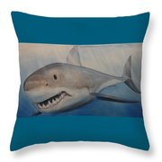 Blue Water, White Death Throw Pillow