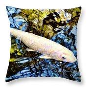 Blue Water White Koi Throw Pillow