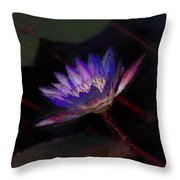 Blue Waterlily Throw Pillow