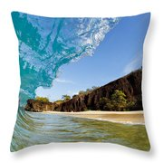 Blue Wave - Makena Beach Throw Pillow