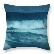 Blue Waves - Jersey Shore Throw Pillow by Angie Tirado